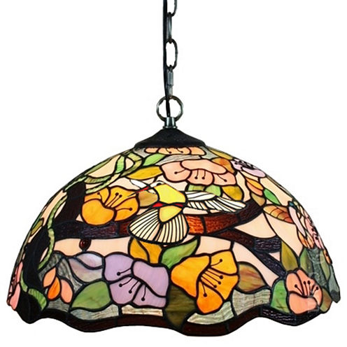 Amora Lighting AM104HL16 Tiffany Style Floral Hanging Lamp 2 Light 16 In Wide