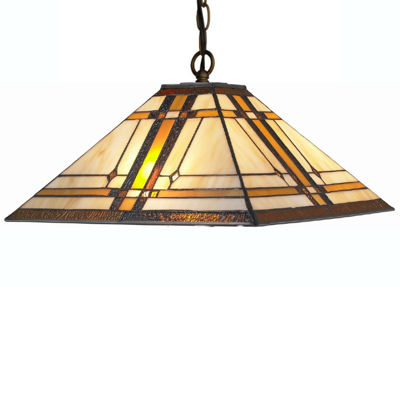 Amora Lighting AM1053HL14 Tiffany Style Mission 2-light Hanging Lamp