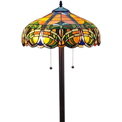 Amora Lighting AM1072FL16 Tiffany Style 2-light Baroque Floor Lamp