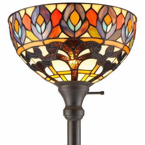 Amora Lighting AM1086FL12 Tiffany Style Peacock 1-light Torchiere Lamp