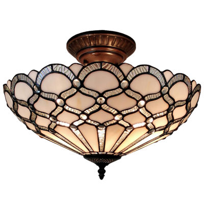 Amora Lighting AM108CL17 Tiffany Style Ceiling Fixture Lamp 17 In Wide