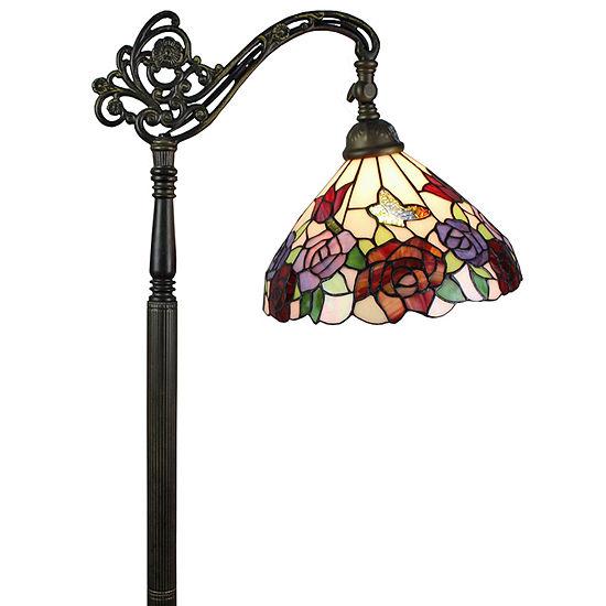 Amora Lighting AM1114FL12 Tiffany Style Roses Reading Floor Lamp 62 In