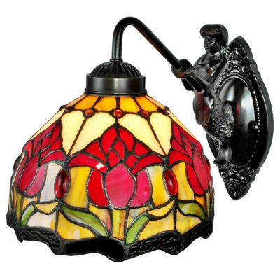 Amora Lighting AM111WL08 Tiffany Style Wall Lamp 8In Wide