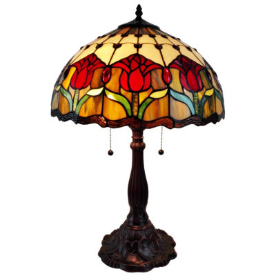 Amora Lighting AM115TL16 Tiffany Style Tulips Table Lamp 24 Inches