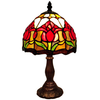 Amora Lighting AM117TL08 Tiffany Style Tulips Table Lamp 14 Inches High