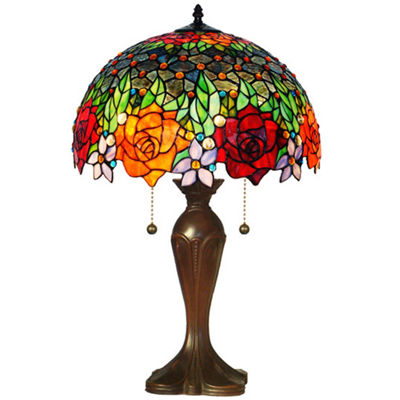 Amora Lighting AM1534TL16 Tiffany Style Roses Table Lamp 23 In