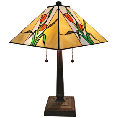 Amora Lighting AM200TL14 Tiffany Style Floral Finish Mission Table Lamp 21 inches