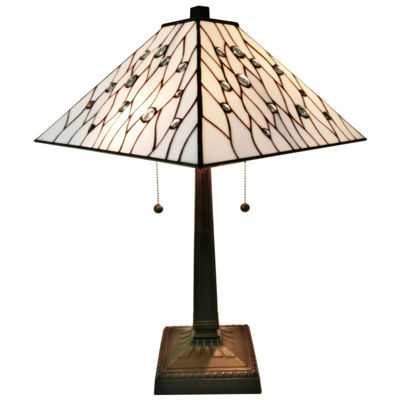 Amora Lighting AM202TL14 Tiffany Style White Mission Table Lamp 21 inches