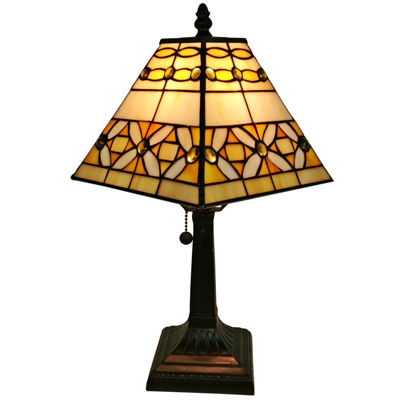 Amora Lighting AM207TL08 Tiffany Style Jeweled Finish Mission Table Lamp 15 inches
