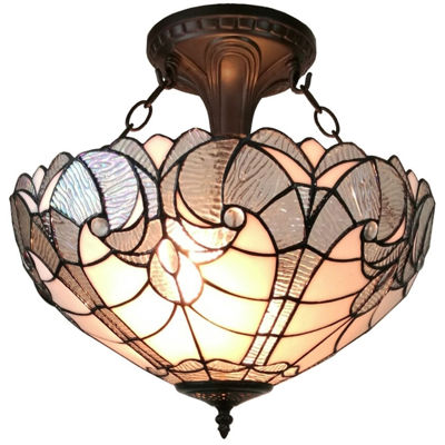 Amora Lighting AM216HL16 Tiffany style semi flushmount ceiling fixture 16 in wide