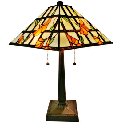 Amora Lighting AM218TL14 Tiffany Style Floral Finish Mission Table Lamp 21 inches
