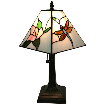 Amora Lighting AM220TL08 Tiffany Style Dragonfly Finish Mission Table Lamp 15 inches