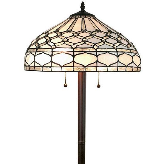 Amora Lighting AM222FL18  Tiffany style royal white floor lamp 62 inches tall