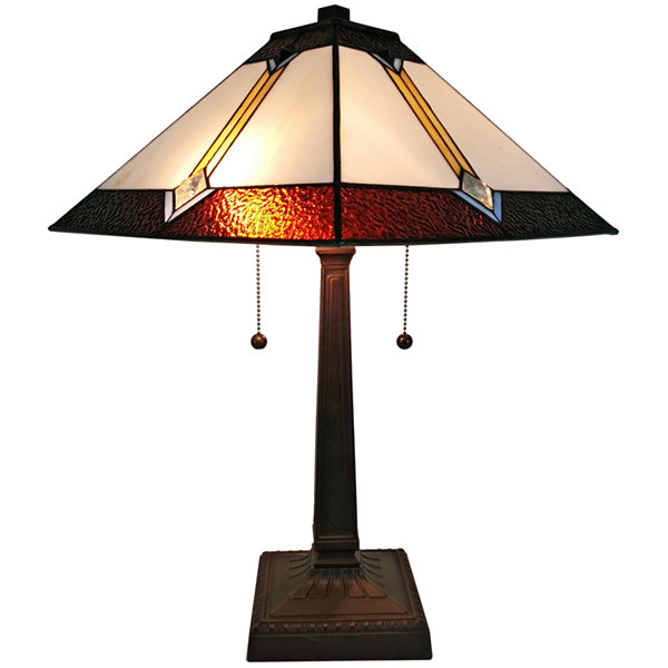 Amora Lighting AM223TL14 Tiffany Style Multicolored Mission Table Lamp 21 inches