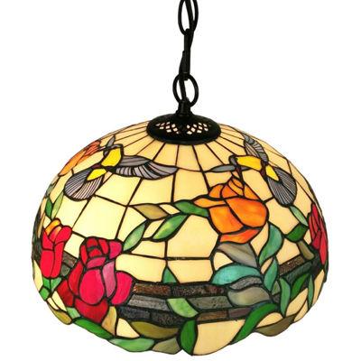Amora Lighting AM227HL16 Tiffany style floral hanging pendant lamp 2 light