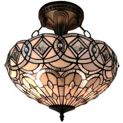 Amora Lighting AM231HL16 Tiffany Style Semi FlushMount Ceiling Fixture