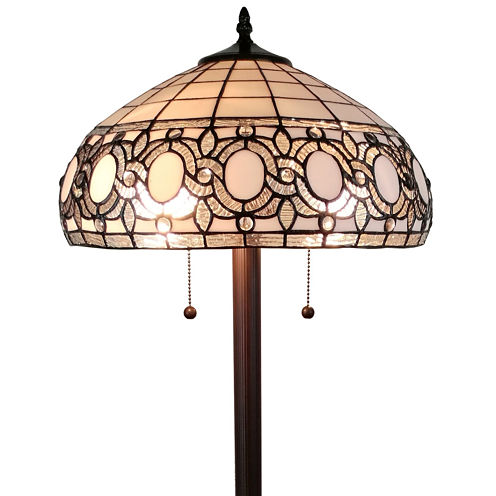 Amora Lighting AM232FL16 tiffany style floral white floor lamp 62 in high