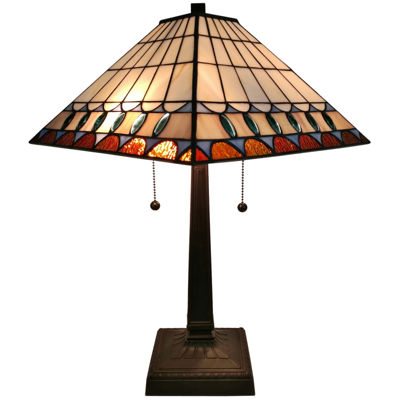 Amora Lighting AM238TL14 Tiffany Style Multicolored Mission Table Lamp 21 inches