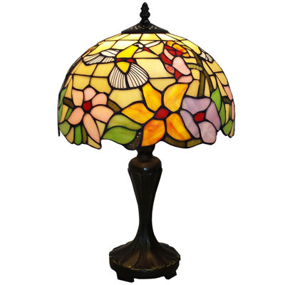 Amora Lighting AM1112TL12 Tiffany Style Hummingbird Design 19-inch Table Lamp