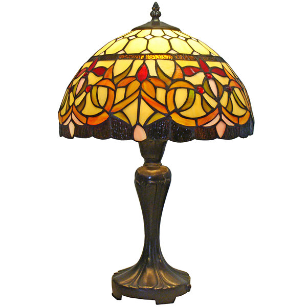 Amora Lighting AM018TL12 Tiffany Style Floral Table Lamp 12-Inch Wide
