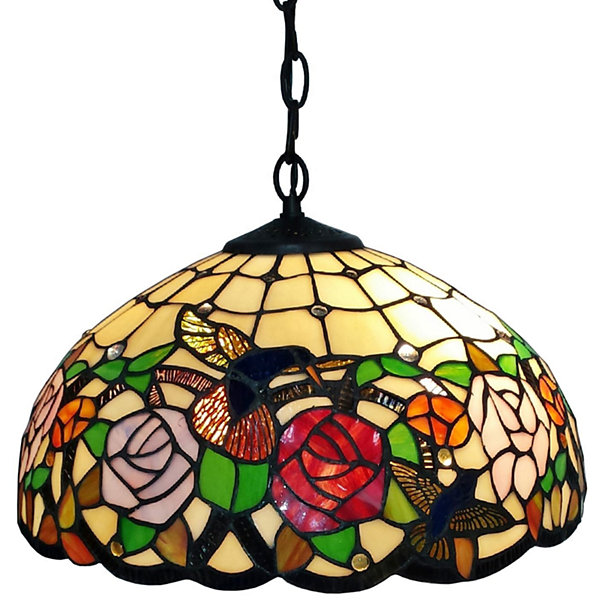 Amora Lighting AM019HL16 Tiffany Style Hummingbirds Floral Hanging Lamp Wide 16 In