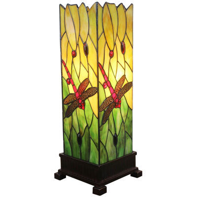 Amora Lighting AM024TL05 Tiffany Style 18-inch Dragonfly Table Lamp