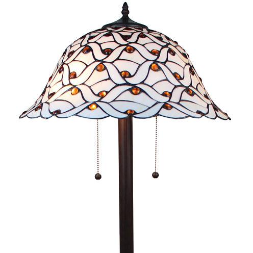 Amora Lighting AM025FL18 Tiffany-style Jeweled Design Glass Pearl Floor Lamp