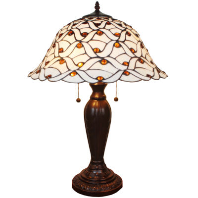 Amora Lighting AM026TL18 Tiffany Style Jeweled 26Inches Table Lamp White