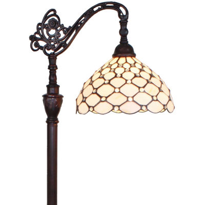 Amora Lighting AM028FL12 Tiffany Style 62-inch Jeweled Reading Floor Lamp