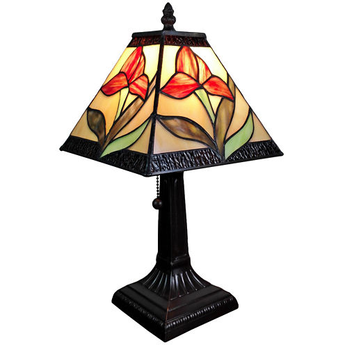 Amora Lighting AM029TL08 Tiffany Style 14.5-inch Floral Mini Table Lamp