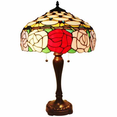 Amora Lighting AM033TL16 Tiffany Style Roses TableLamp 25 In