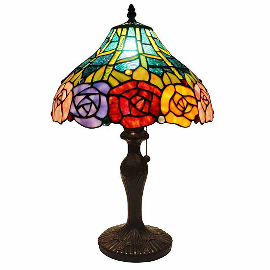 Amora Lighting AM036TL12 Tiffany Style Roses TableLamp 19 In