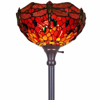 Amora Lighting AM040FL14 Tiffany Style Dragonfly Torchiere Floor Lamp 72 In