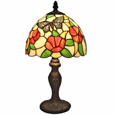 Amora Lighting AM046TL08 Tiffany-style Flowers andButterflies Design 14.5-inch Table Lamp