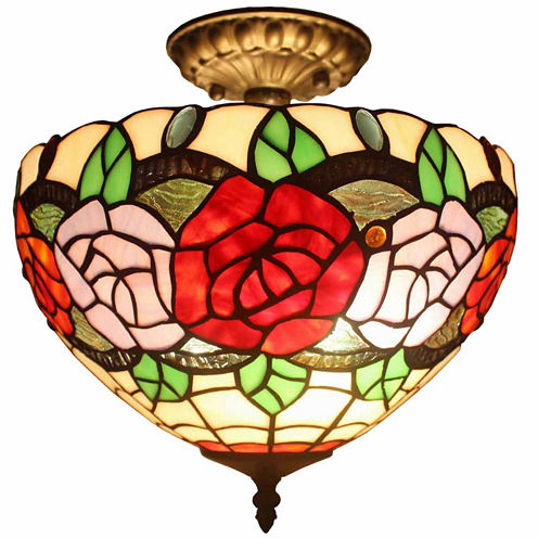 Amora Lighting AM049CL12 Tiffany Style Ceiling Lamp Fixture  2 Light
