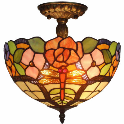 Amora Lighting AM050CL12 Tiffany Style Ceiling Lamp Fixture 2 Light