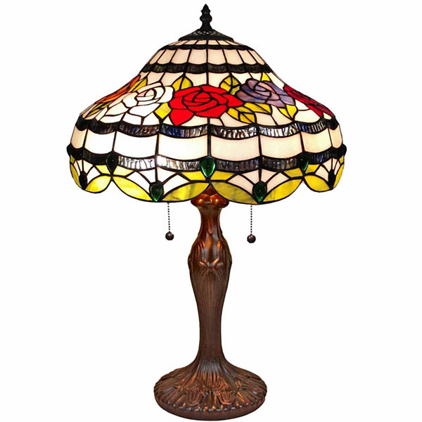 Amora Lighting AM059TL16 Tiffany Style Roses TableLamp 24 In