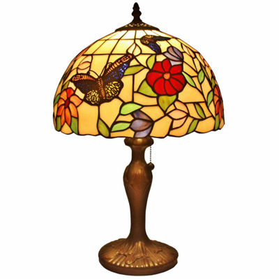 Amora Lighting AM061TL12 Tiffany Style ButterfliesTable Lamp 19 Inches