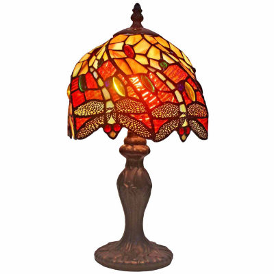 Amora Lighting AM064TL08 Tiffany Style Dragonfly Table Lamp  8 Inches Wide