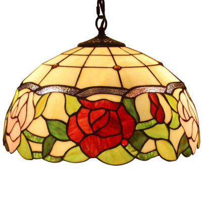 Amora Lighting AM068HL16 Tiffany Style Floral Hanging Lamp 16 Inches Wide 2 Light