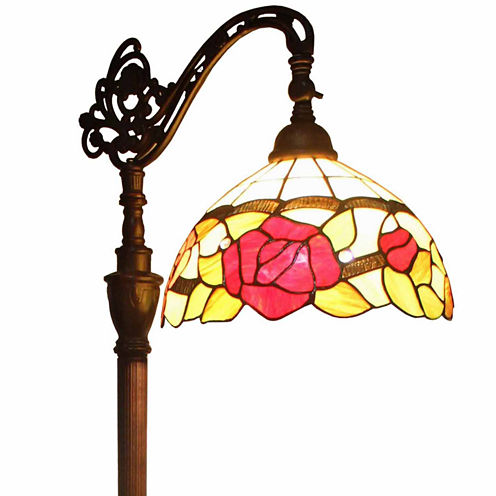 Amora Lighting AM070FL12 Tiffany Style Roses Reading Floor Lamp 62 In
