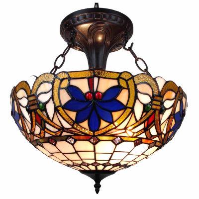 Amora Lighting AM076HL16 Tiffany Style Victorian Design 2-light Pendant Lamp