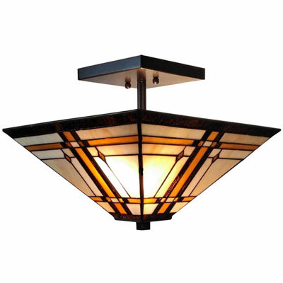 Amora Lighting AM085CL14 Tiffany-Style Mission 2-Light Semi-Flush Ceiling Fixture 14-Inch