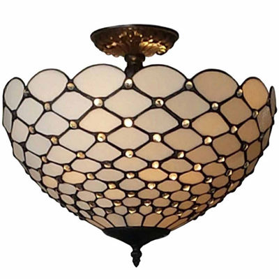 Amora Lighting AM086CL16 Tiffany-Style Jewel 2-Light Semi-Flush Ceiling Fixture 16-Inch