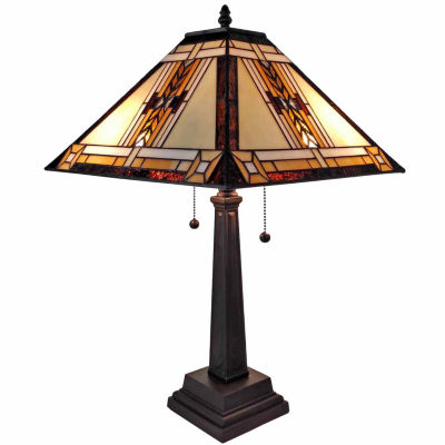 Amora Lighting AM099TL14 Tiffany Style Mission Design Table Lamp 22 In