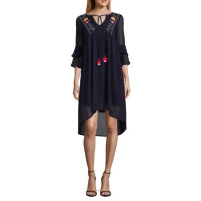 My Michelle 3/4 Sleeve Embroidered Empire Waist Dress-Juniors