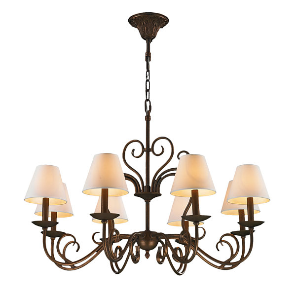 Saratoga Collection 8 Light Flemish Brass Finish with Natural Shades Chandeliers