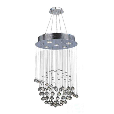 Saturn Collection 5 Light Mini Chrome Finish and Clear Crystal Galaxy Chandelier
