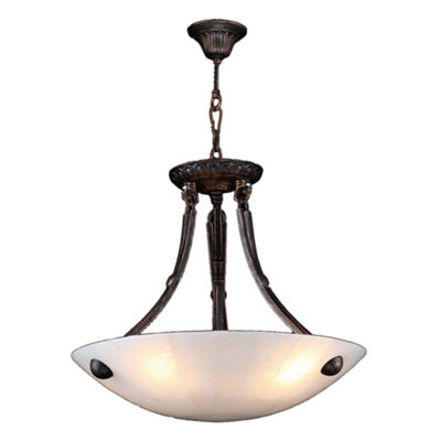 "Pompeii Collection 4 Light Flemish Brass Finish and Natural Quartz Bowl Pendant 16"" D x 18"" H Small"""