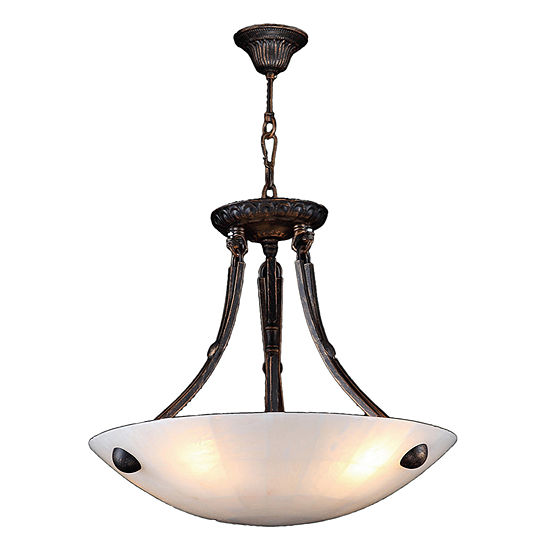 "Pompeii Collection 4 Light Flemish Brass Finish and Natural Quartz Bowl Pendant 16"" D x 18"" H Small"